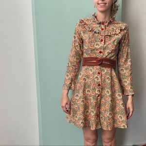 Vintage Sunflower Print Dress